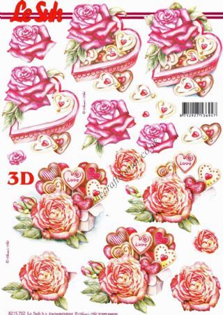 Love Heart Chocolates & Roses 3d Decoupage Sheet
